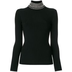 Alexander Wang Black Rib Knit Sweater With Gem Embellished Neck ($795) ❤ liked on Polyvore featuring tops, sweaters, black, funnel neck sweater, gem top, ribbed knit top, embellished long sleeve top and alexander wang sweater