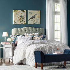 The Pitfall Of Luxury French Bedroom Decor 32 - decoruntold White Furniture, Find Furniture, French Bedroom Decor, Bedroom Ideas, Clear Glass Table Lamp, Upholstered Storage Bench, Blue Rooms, White Bedroom, Panel Headboard