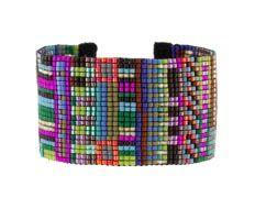 Multi-Row Rio Mix Delica Bead Bracelet on Woven Cotton