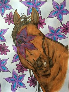 """From the adult coloring book """"The Magical World of Horses"""" for horse lovers. Too Busy? Pin Now, View Later or order here http://selahworks.com/project/themagicalworldofhorsesadultcoloringbook/"""