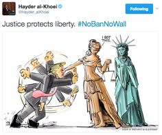 People think the cartoon has perfectly captured the importance of having an independent judicial system. | People Love This Cartoon About Trump's Travel Ban