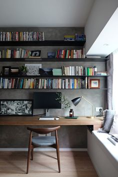 Working desk open bookshelves, delicated Frenchy loft | studio flat - MØFT STUDIO