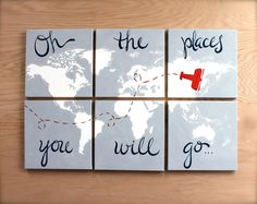 world map canvas . oh the places you will go . 6 by sincerelyYOU Baby Boy Rooms, Baby Boy Nurseries, Baby Room, Nursery Room, Airplane Bedroom, World Map Canvas, Planer, Kids Bedroom, Playroom