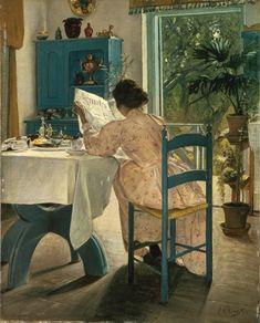 Ved frokostbordet og morgenaviserne. Karrebæksminde, 1898