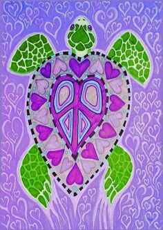 ☮ American Hippie Bohéme Boho Peace Sign Art ☮ Sea Turtle