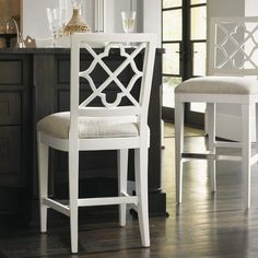 With a quatrefoil back splat, a crisp white frame, and classic linen-weave upholstery, our Newstead Bar Stool brings comfortable seating with a touch of breezy femininity to indoor bar spaces. Wooden Dining Room Chairs, Bar Stool Chairs, 24 Bar Stools, Mid Century Dining Chairs, Counter Stools, Dining Decor, Bar Counter, Kitchen Chairs, Dining Tables
