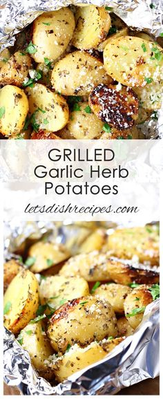 Grilled Garlic Herb Potatoes Recipe: Potatoes are coated in olive oil, garlic and Italian seasoning, then wrapped in foil and cooked on the grill until tender. A great side for almost any meal! recipe for two Grilled Garlic Herb Potatoes Potato Recipes Crockpot, Crock Pot Recipes, Potatoe Casserole Recipes, Side Dish Recipes, Chicken Recipes, Dinner Recipes, Healthy Recipes, Recipes For Potatoes, Easy Recipes