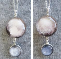 Mini Pluto and Charon Double Sided Sterling by LostInSpaceJewelry