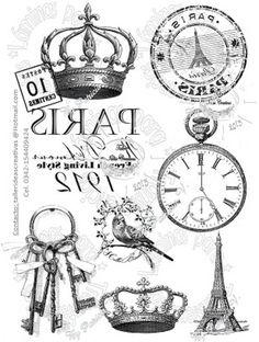 Clocks, Keys, Crowns And Paris Transfers Decoupage Vintage, Printable Labels, Printables, Etiquette Vintage, Foto Transfer, Transfer Printing, Images Vintage, Paris Images, Style Retro