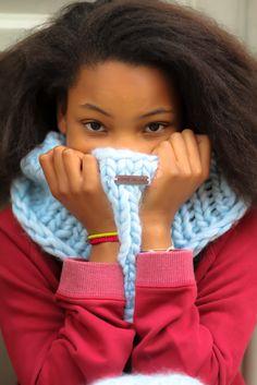 Big big snood ciel  Handmade knitwear, wool, men, women, kids