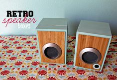 so in love with these retro speakers - made with boxes from ikea for less than $10!