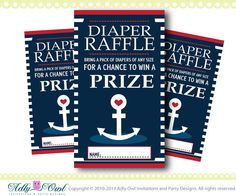 Anchor Diaper Raffle for Nautical Baby Shower in Navy, Blue, Red,Yellow, anchor, crab DIY- ONLY digital file - you print SKU41 on Etsy, $4.00