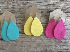 Summer Leather Earrings! Turquoise, Sun Bright Yellow, Hot Pink $10