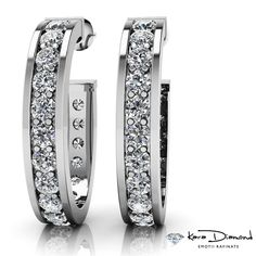 Gold SPECIFICATIONSStone Name: DIAMONDStone Cut : Round brilliantStone Specifications: There are total diamonds approx. carats in each earring. Diamond Stone, Round Cut Diamond, Stone Names, Stone Cuts, White Gold, Hoop Earrings, Wedding Rings, Engagement Rings, Gemstones
