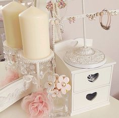 Pretty makeup vanity decor.