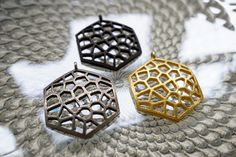 #bzzz #bzzzz - You will buzz with fashion with our Honeycomb Pendant in Gold, Black, and Bronze-Silver Steel.    #jewelryjune #steelpendant #voronoi #bees #honeycomb #goldsteel #mathjewelry #mathart #nycfashion #nyclife #steeljewelry #3dprinted #geometricjewelry #geometry #cellular #natureinspired #mathematica #shapeways #honeybee #uniquedesign #designerjewelry #jewelrydesigner #ilovenyc #hanusadesign #hexagon #hexagonal #tiling