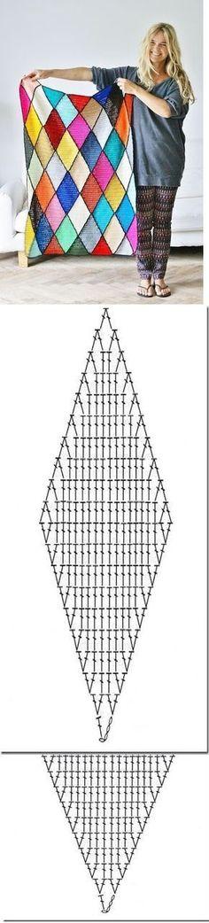 losango de crochê com gráfico