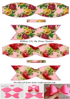 Hair Ribbons, Hair Bows, Christmas Gift Box, Christmas Crafts, Diy Flowers, Paper Flowers, Ribbon Crafts, Paper Crafts, Bow Template