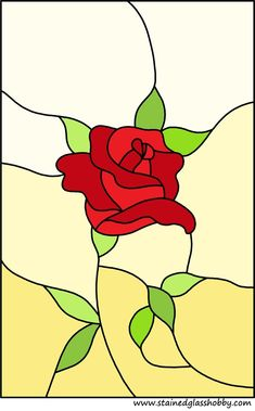 Rose panel stained glass design