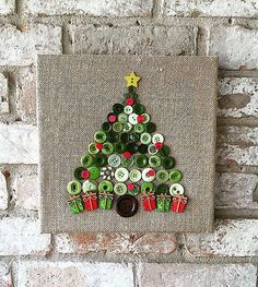 Christmas burlap button tree art by TheBlueBootTX on Etsy