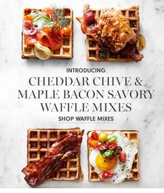 Shop breakfast mixes featuring gourmet pancake and waffle mixes at Williams Sonoma. Discover breakfast mixes in a wide selection of flavors including buttermilk, blueberry, chocolate chip and more. Savory Waffles, Pancakes And Waffles, Cake Decorating Kits, Waffle Mix, Maple Bacon, Cheddar, Gourmet Recipes, Blueberry, Breakfast