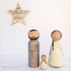 peg doll Nativity set to celebrate Christmas. Great gift for children and adults. Use for display OR for playtime recreating a beautiful Nativity Crafts, Christmas Nativity, Christmas Wood, Christmas Projects, Christmas Ornaments, Nativity Sets, Xmas, Wood Peg Dolls, Clothespin Dolls
