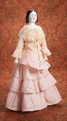 Home At Last - Antique Doll and Dollhouses: 6 Beautiful and Rare Early German Porcelain Lady with Fine Antique Gown