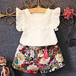 2016 Summer New Girl Sets Breathable Network Fly Sleeve Shirt T-shirt Floral Shorts Pearl Hollow Bow Flowers Fashion Kids Suit Cute Baby Girl Outfits, Kids Outfits Girls, Boy Outfits, Cute Outfits, Party Outfits, Summer Outfits, Fashion Kids, Toddler Fashion, Style Fashion