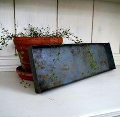 Vintage Rusty Industrial Rectangular Metal Tray by CustomComforts
