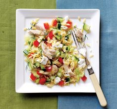 This colorful orzo and chicken main dish salad from Cooking Light is packed with an assortment of chopped fresh vegetables and tossed with a tangy lemon dressing. It's a great use for leftover or ...