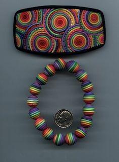 Tutoriel : Comment faire une barrette et un bracelet perle arc-en-ciel en Fimo - Le blog de miss-kawaii