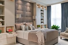 Love this bedroom - built in nightstand and wall shelves and gorgeous headboard! Perfect for a small bedroom!