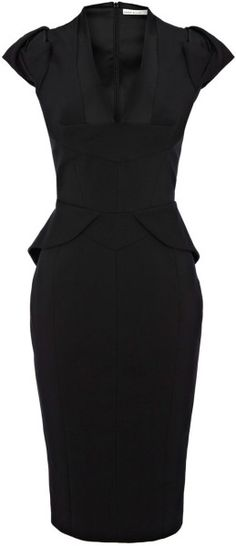 Karen Millen Black Sculptural Peplum Collec