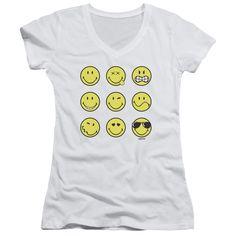 Smiley World/Nine Faces Junior V-Neck