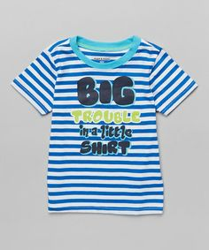 Look what I found on #zulily! Royal Blue Stripe 'Big Trouble' Tee - Toddler & Boys #zulilyfinds