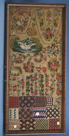 An Absolutely Wonderful German WoolWork Sampler Dated 1881