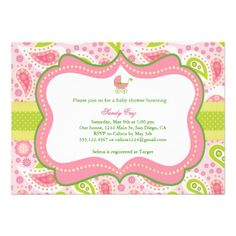 Lilly Pulitzer Inspired Baby Shower Invitation
