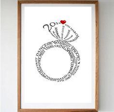 personalised wedding ring print by memory wordart | notonthehighstreet.com