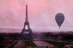 "Paris Photos, Dreamy Paris Pink Photography, Eiffel Tower Photos, Surreal Paris Decor, Fine Art Paris Photography 8"" x 12"""