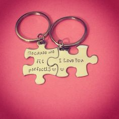 Because we fit perfectly i love you, Couples Keychains, Stamped puzzle pieces, Couples Gift, Anniversary Gift, Boyfriend Girlfriend Gift