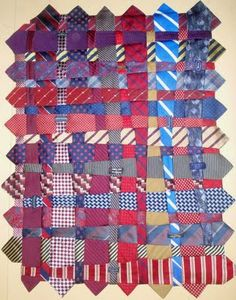 """Tie Quilt, 35 x 45"""", by Renay Martin.  the quilt was made with 56 ties."""