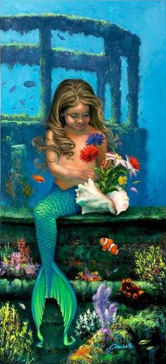 Little mermaid Mother's Day flowers. Medium Poster Size x 23 Domino Crafts, Mothers Day Poster, Fine Art Posters, Mermaid Photos, Mermaids And Mermen, Poster Prints, Art Prints, Merfolk, Mermaid Art