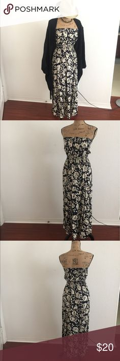 Dress Black and cream floral print strapless maxi dress with elastic waist. Dresses Maxi