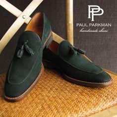 PAUL PARKMAN MEN'S TASSEL LOAFER GREEN SUEDE SHOES