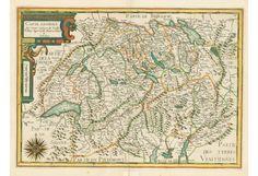 SWITZERLAND: CARTE GENERALE DES TREZE CANTONS DE SUISSE, VALLAY, LIGUES GRISE, MAISON-DIEU & VALTELINE. Author: Nicolas TASSIN (Christophe Tassin, ? - 1660). Place and Year: Paris, ca 1635. Technique: Copper engravng with original colour in outline, 36.0 x 50.5 cm (14.2 x 19.9 inches) / Grenzkolorierter Kupferstich, 36 x 50,5 cm