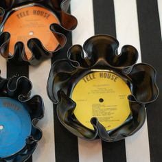 Vinyl Record Bowls!  (So unique!  Super easy and would make such a quite gift!)