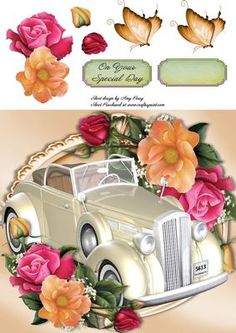 Beautiful Cream Wedding Car With Summers Flowers 8x8 on Craftsuprint - View Now!