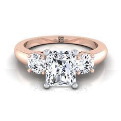 Diamond 3 Stone Engagement Ring With Radiant Cut Center And Round Side Stones In White Gold Ct. Radiant Cut Engagement Rings, Three Stone Engagement Rings, Rose Gold Engagement Ring, Diamond Solitaire Earrings, Stone Gold, Beautiful Rings, White Gold, Wedding Rings, Jewels