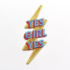 Gold threaded paired with the trendiest colors coming this spring, sprinkle a little bit of empowerment everywhere you go with this patch. - Embroidered Patch with Metallic Gold thread- Heat Seal back (Apply with an iron) Cute Patches, Pin And Patches, Iron On Patches, Feminist Patch, Red Aesthetic, Metal Pins, Trendy Colors, Cute Illustration, Cute Stickers