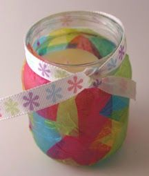This is a beautiful Mother's day candle holder gift that looks like stained glass. Materials: small glass jar like a baby food jar. colo...